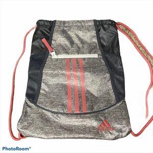 New Adidas gray pink three striped drawstring bag